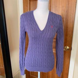 Ralph Lauren purple cable knit/v neck sweater (M)